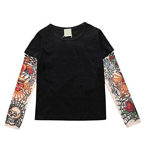 Deylaying Familia Adulto Niño Mameluco Infantil Estampado T-Shirt Ropa de Tatuaje Manga Larga Casual