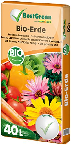 BestGreen Bio-Erde 40 L - torfreduzierte Universalerde - für Zierpflanzen, Gartenpflanzen und Gemüse - mit Bio-Dünger - mit Kompost und Bio-Holzfaser