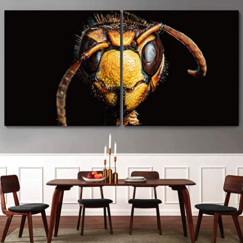 """bestdeal depot Bee CloseUp Decorative Elements Art For Home 2 Panel Canvas Wall Art Prints for Living Room,Bedroom Ready to Hang - 16""""x16"""" x 2 Panels"""