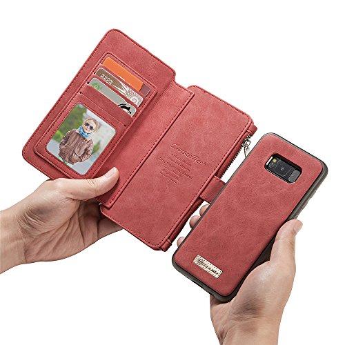 Yihya Multi-Function Wallet Custodia in Pelle per Smartphone 2 in 1 Detachable Leather Portafoglio Case Folio Flip Wallet Stand Cover con Card Slots + Penna di Tocco