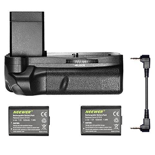Neewer® Empuñadura Vertical para batería con 2 Piezas LP-E10 de Repuesto para Canon EOS 1100D, 1200D, 1300D, Rebel T3, T5 y T6