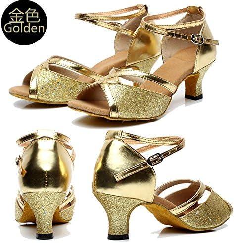 Gaorui Femme Salsa Motif Valse Latins Tango Danse pour Fille Paillettes Chaussures Talons Hauts Brillante