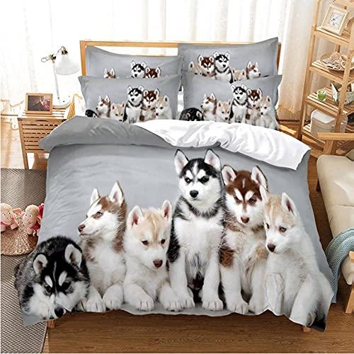 3D di biancheria da letto Un gruppo di cani Biancheria da letto in microfibra, con cerniera, set biancheria da letto 3 pezzi - 1 copripiumino--135x200cm + 2 federe 80x80 cm