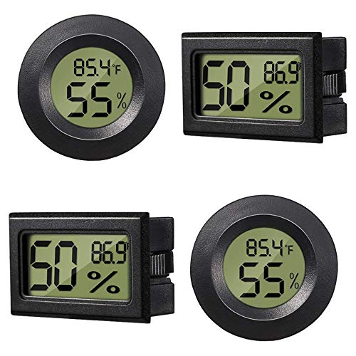 KYYKA 4Pcs Mini Digital Elektronische Temperatur Luftfeuchtigkeitsthermometer LCD-Monitor Temperatur Luftfeuchtigkeitsmesser für Humidore Gewächshaus, Garten, Keller, Kühlschrank, Schrank