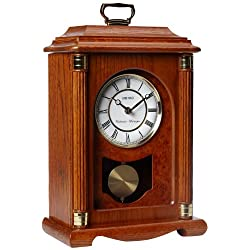 Seiko 15 Chime Carriage Mantel with Chime, Pendulum and Metal Accents Clock