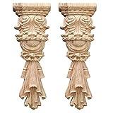 Nati 2 Piezas Madera Tallada Flor Tallada Onlay Apliques Tallados Decorativo para Mueble Ornamento Decoración para Armario Gabinete Puerta 14.5x5 cm / 5.71x1.97inches