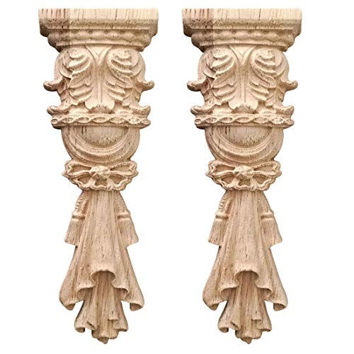 Nati - 2 adornos de madera para muebles de madera tallada en esquina de madera para puertas, armarios, ventanas, cama, escultura de madera