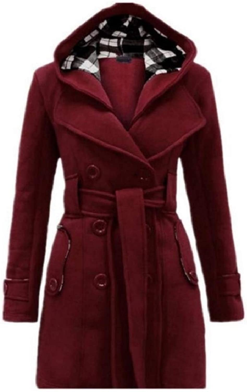 Young2 Women's Hood Outwear Overcoat Warm MidLong Woolen Jacket