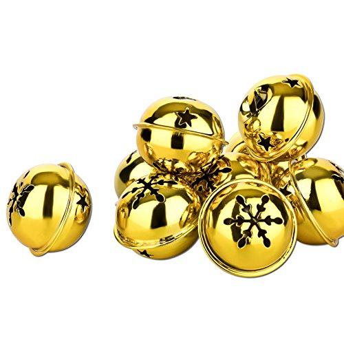Kleenes Traumhandel 10 Stück schöne Weihnachtsschellen - Glöckchen für Weihnachten - 35 mm (Gold Farbend)
