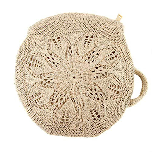 Zisla Bolso bandolera casual de mujer pequeño, circular de ganchillo, croche o tejido gancho, estilo bohemio hippie. (Beig)
