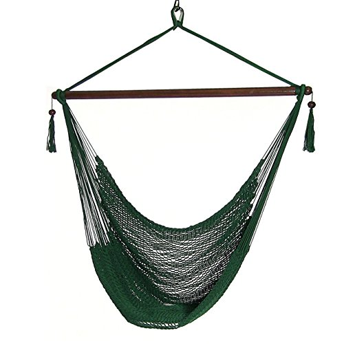 Sunnydaze Hanging Rope Hammock Chair Swing, Extra Large Caribbean, Green - for Indoor or Outdoor Patio, Yard, Porch, and Bedroom