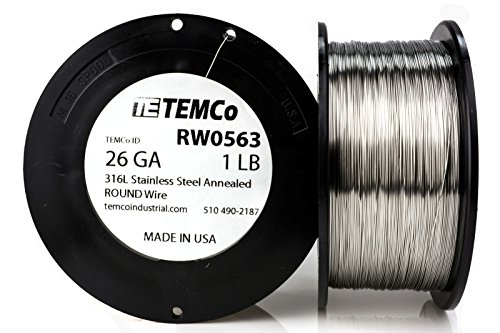 TEMCo Stainless Steel Wire SS 316L - 26 Gauge Non-Resistance AWG ga