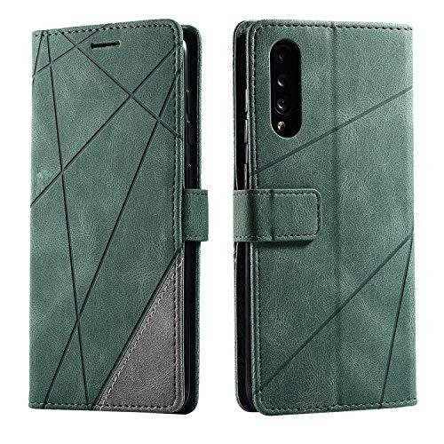 Hülle für Samsung Galaxy A70, SONWO Premium Leder PU Handyhülle Flip Hülle Wallet Silikon Bumper Schutzhülle Klapphülle für Galaxy A70, Grün