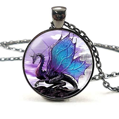 HXSZWJJ Unisex Colgante Collar de la joyería del dragón alas Dragón Negro Collar Punky de Accesorios de Moda Collar de Mal dragón (Color : A)