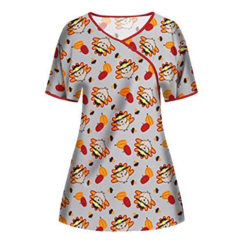VEMOW Mujer Uniforme Tops de Trabajo Camisa de Manga Corta Elegante Ropa con Cuello Irregular, Moda Impresa Trabajo Enfermera Médicas SPA Salón de Bolsillo Laboratorios Uniforme Belleza Blusa