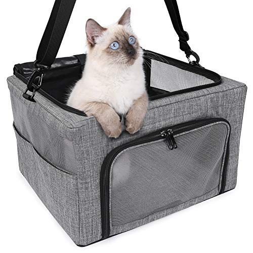 BEELIKE Pet Portable Crate Pet Cage Dog Kennel Cat Play Cube Great for Travel Home and Outdoor – for Dogs Cats and Puppies (Grey) Kennels