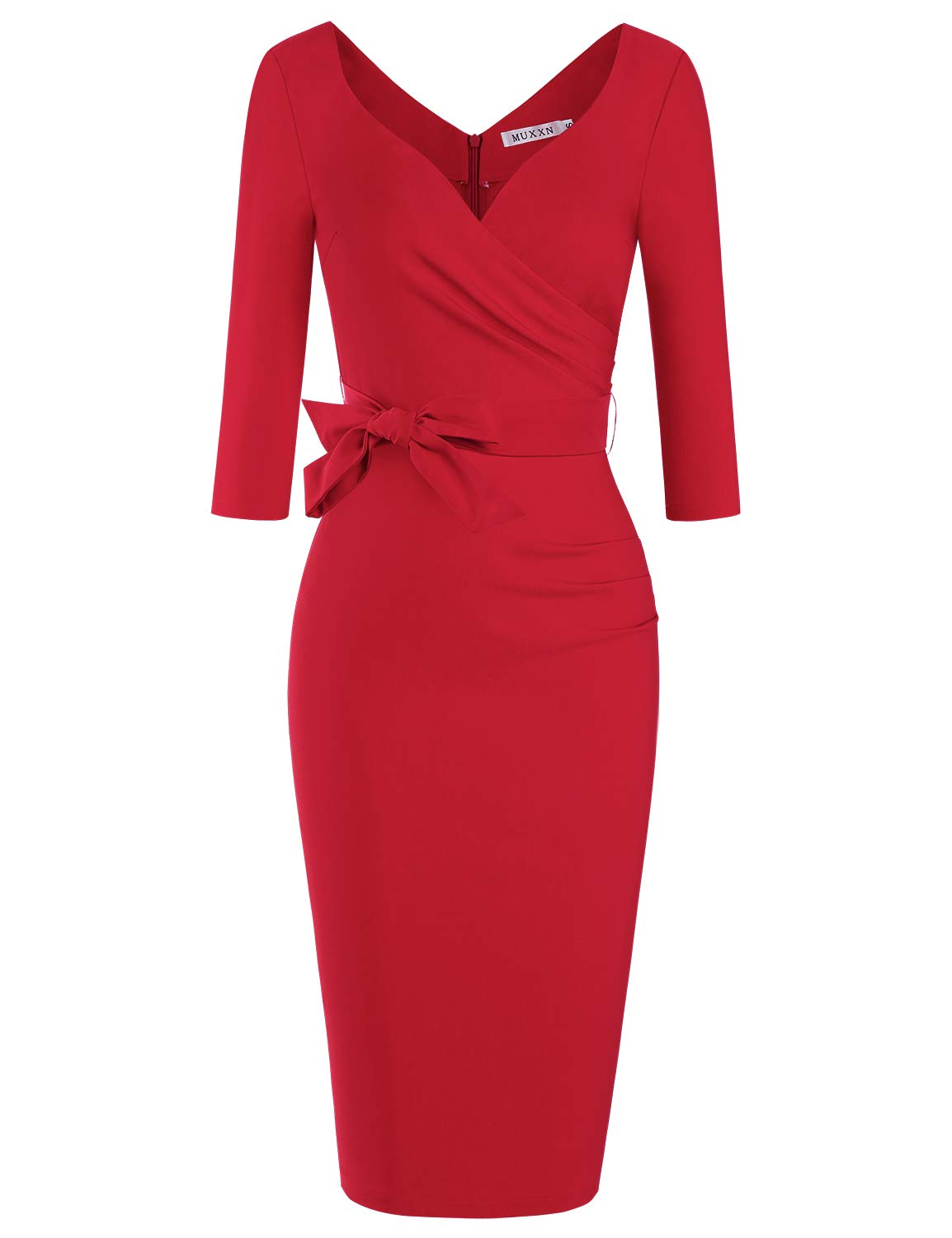 Red Dress - Women's Usa Sexy Long Sleeve Tulip Wrap Slit Front Full Long Maxi Dress