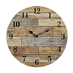 NIKKY HOME 16 Rustic Silent Noiseless Spliced Coastal Wood Round Wall Clock