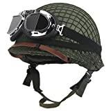 SHDT WW2 Army M1 Green Helmet Replica Ajustable, con Red/Lienzo Correa De Barbilla Táctica/Gafas Paintball Gear Casco De Acero para Adultos