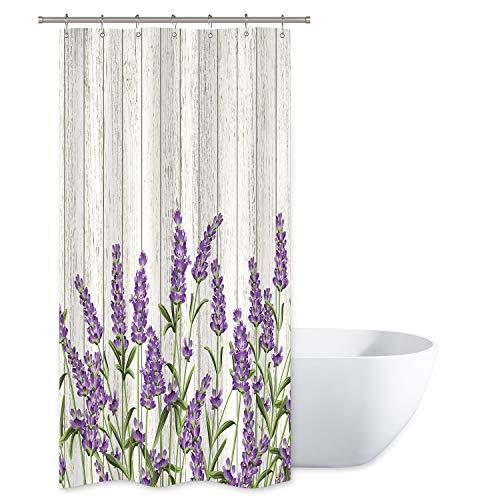 Riyidecor Kleiner Stall Lavendel Duschvorhang 91 x 183 cm (B x H), rustikales Holzbrett, lila Blumen, Kräuter, Blätter, Stoff, Polyester, wasserdichter Stoff, 7 Stück Kunststoffhaken