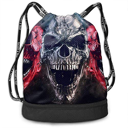 Valender Rucksack Kordelzug Tasche Screaming Metal Demon Skulls - Neo Thrash Style - 3D Illustration Gym Kordelzug Taschen