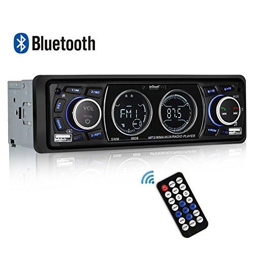 Autoradio Bluetooth, iegeek Radio MP3Player KFZ-Stereo mit Doppelter LCD-Anzeige, Station von 18Memoiren FM Halterung USB/SD/Aux/Bluetooth/EQ/Fernbedienung