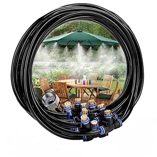 Sistema de refrigeración por niebla 42.6FT para jardín, vaporización, sistema de 19 brazos, conector de grifo de latón 3/4, ideal para Gazebo trampolín piscina Edges Toldos