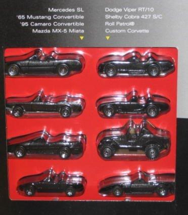 1995Hot Wheels Black Convertible Collection Set of 8–Mercedes SL/\'65MUSTANG/\' 95Camaro/Mazda MX-5Miata/Dodge Viper RT/10/Shelby Cora 427S/C/Roll Patrol/Custom Corvette