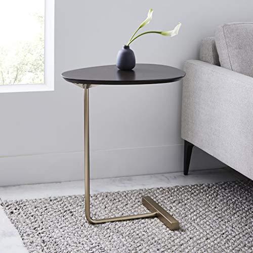ZHANYI salontafel ovaal bijzettafel/eindtafel, massief houten tafelblad, massief metalen steun, eenvoudige stijl, gemakkelijk te combineren