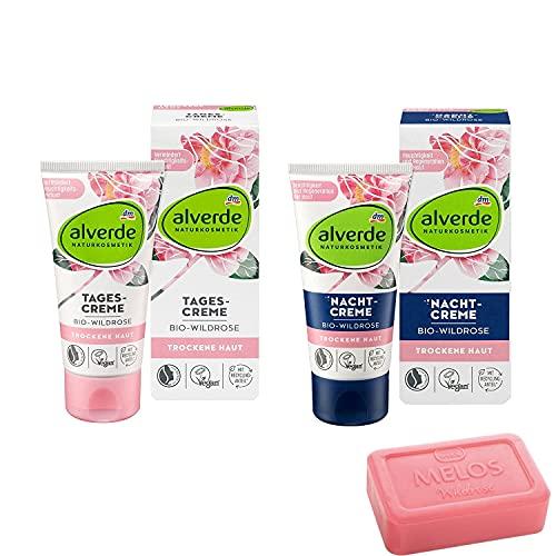 1 crema de día de rosa salvaje biológico de 50 ml, 1 crema de noche de rosa salvaje biológico de 50 ml y 1 jabón de aceite vegetal de rosa salvaje de MELOS (100 g).