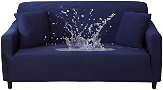HOTNIU Waterproof Stretch Sofa Couch Covers - 1-Piece Thick Spandex Fabric Loveseat Couch Slipcover - Elastic Universal Fitted Seat Furniture Protector (Navy, Loveseat)
