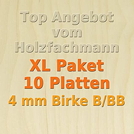 PiHaMi/® 4mm Birke Sperrholzplatte Qualit/ät B//BB 152 x 50cm GP 20,12 /€//m/²