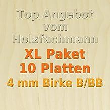 50 x 37,5cm GP 15,95 /€ pro m/² PiHaMi/® 4 mm Birke Sperrholzplatte Qualit/ät B//BB