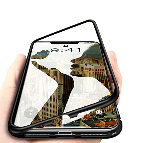 iPhone Xs MAX Case, MISSCASE Ultra Slim Magnetic Two Side Protective Case with Metal Frame Tempered Glass Back [Magnetic Adsorption Technology] [Support Wireless Charging](Black Frame + Clear Back)