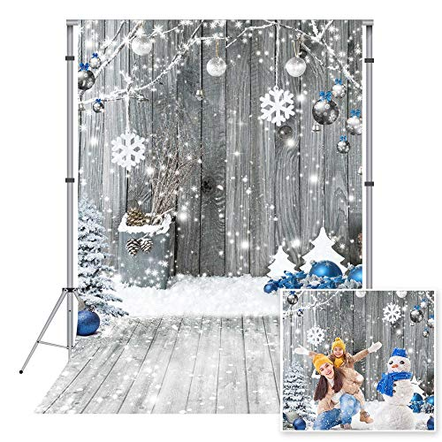 Miktwe 5X7ft Microfiber Christmas Backdrop Wood Wall Background Winter Holiday Snowflake Party Decoration Wood Floor Photography Backdrop Baby Children Photo Banner Booth Studio Props