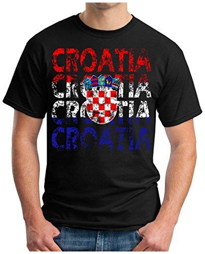 OM3® - Croatia - T-Shirt Kroatien Hrvatska Fussball World Cup Soccer Fanshirt Sport Trikot, XXL, Schwarz