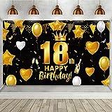 Decoración de Fiesta Negra Dorada de 18 Cumpleaños, Cartel de Oro Negro de Tela Grande para Cumpleaños Aniversario Fiesta de 18 Años, Banner Fondo de Fiesta 18 Cumpleaños 72,8 x 43,3 Pulgadas