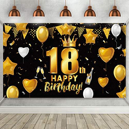 18. Geburtstag Schwarz Gold Party Dekoration, Großes Schwarz Goldenes Stoff Plakat zum 18. Geburtstag Jahrestag Party Bedarf, 18. Geburtstag Party Foto Automat Hintergrund Banner 72,8 x 43,3 Zoll