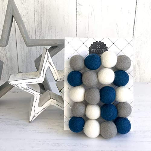 Felt Ball Pom Pom Garland, Nursery and Home Decor, From Stone And Co In Dark Blue and Grey