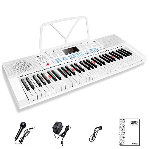 Vangoa VGK611 Electronic Keyboard Piano, 61-Lighted Mini Key Electric Piano Keyboard with 3 Teaching Mode, Microphone, 350 Tones, 350 Rhythm, 30 Demo Songs, 8 Percussion, White