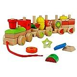 yoptote Legno Geometriche Blocchi dei Treni Costruzione Stacking Kit di Montaggio Giocattolo Tirare Lungo Puzzle per Bambini (Regalo)