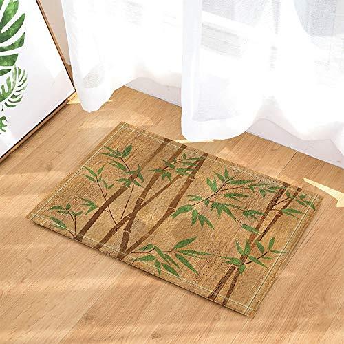 hdrjdrt Spa Decors - Alfombra de baño antideslizante pintada a mano con ramas de bambú sobre textura de madera, para entrada de suelo, alfombrilla de baño para niños, 60 x 40 cm, accesorios de baño