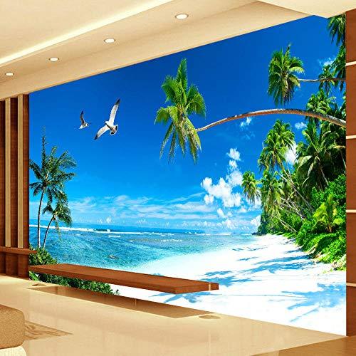 zhanghomey Wandbild Tapete Schlafzimmer Sofa Tv Hintergrund Wohnkultur Strand Coconut Grove Moderne Wandmalerei-430X300Cm