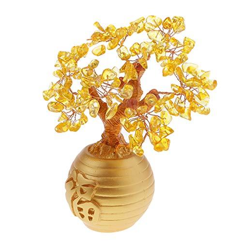 Bonarty Riqueza suerte árbol árbol de la suerte Feng Shui decoración para Lucky Beten Prop – Amarillo