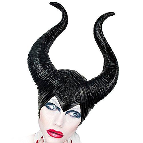 Halloween Evil Witch - Gorro para mujer con diseño de cuernos maléficos, de látex, color negro