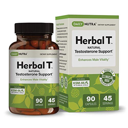 Herbal T Natural Testosterone Booster for Men by DailyNutra - Supplement for Energy, Endurance, and Vitality | Featuring Clinically Studied KSM-66 Ashwagandha (90 Capsules)