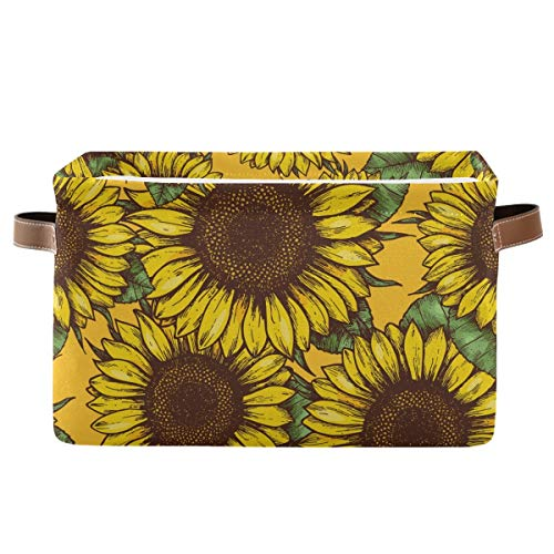 Rectangular Storage Bin Sunflower Basket with Handles - Organizer Bin for Toys, Books, Laundry Basket for Kids/Pets, Playroom
