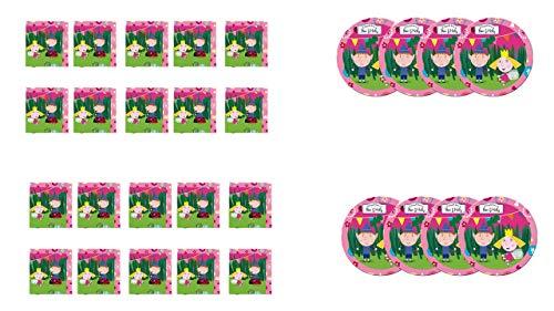 ALMACENESADAN 2273; Pack Fiesta o cumpleaños Ben y Holly; 8 Platos 23 cm y 20 servilletas