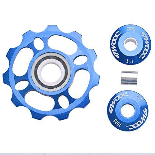 Fahrrad Schaltwerke Schaltröllchen Schaltungsrädchen 11 Zähne Hinteren Riemenscheibe,11T Jockey Wheels Road Mountainbike Fahrrad Jockey Pulley Rad Schaltwerk Pulley Fahrradteile Schaltwerk(Blau)