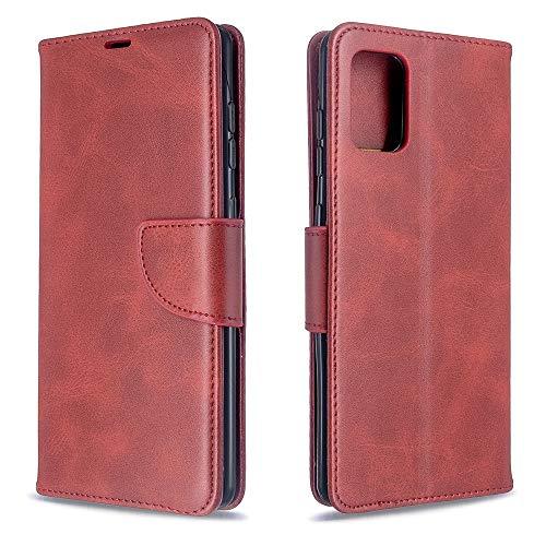 Runbiu Kompatibel mit Samsung Galaxy A71 Hülle, Premium PU-Leder Book Style Handyhülle TPU Bumper Flip Wallet Brieftasche Handyhülle Schutzhülle, rot